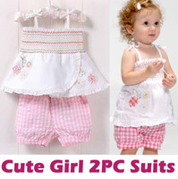 1-3Y Girl Summer Girl's 2pcs Suits =Sling Grid Skirt+Pants 1-3Y 2013-4 New Dress Outfits Sets Outwear Vest Clothing