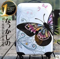 Wholesale 24 inches Newly With CZ Diamond PINK Butterfly Travel Suitcase Female Trolley Luggage Rolling Cute Trunk