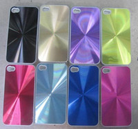 Plastic plastic cd covers - Aluminum Metal CD Texture Hard Plastic Case for iphone S G cell phone cases cover shining CD grain skin