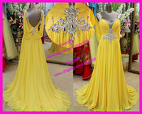 Wholesale Chinese Actual Yellow Prom Dresses Sexy Backless Beads Crystal Formal Evening Gowns Floor Length E3147