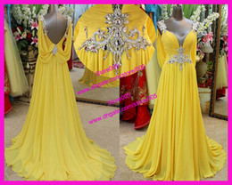 Wholesale Chinese Sexy Photos - Chinese Actual Yellow 2016 Prom Dresses Sexy Backless Beads Crystal Formal Evening Gowns Floor Length E3147