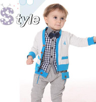 Boy Spring / Autumn Long Free Shipping 1-3yrs kid clothes europe style baby boys outfit cool clothing sets lattice tees+jacket+pants 3set lot