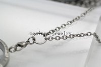 Wholesale 18 quot quot prolong L stainless steel lobster claw mm width O ring chain necklace for floating charm glass locket xmas mother valentine