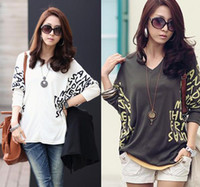 Wholesale Popular V neck Batwing Loose Tops Casual Dolman Blouse T Shirt Colors