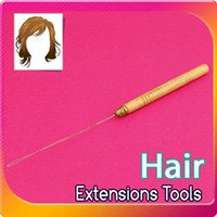 Wholesale Micro Ring Hair Extension Connectors Wooden Loop Needle Threader Thread Feat