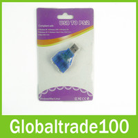 Wholesale USB to PS2 PS Adapter Connector For PC Mouse Keyboard Free DHL Shipping