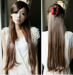 Wholesale 23inch One Piece New Long Ladies Synthetic Straight Clip In Hair Extensions Styling Stylish Queens
