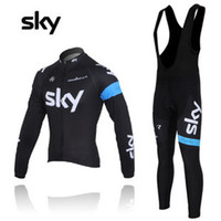 Wholesale 2013 sky cycling jersey long sleeve Cycling wear and bib Pants Set cycling Clothing New Sky cycling wear