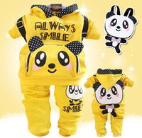 1-3 Year Girl Spring / Autumn Free Shipping Baby girl 2-piece sets Cotton Clothing sets 2013 Girls Panda pattern Leisure Suits(Jacket+Pants)Wholesale 4set lot,Outfit