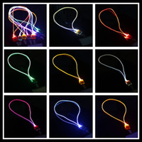Wholesale Work Card Hanging Rope LED Optical fiber luminous lanyard ultra bright LED with super light guide effect Fashion hot Selling for Parties