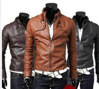 Men PU leather Waist_Length 2013 Trendy Men's Designed Short Slim Fit Top Sexy Jacket Coat Outerwear