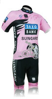 Wholesale Women Cycling Jersey Saxo Bank Pink short sleeve and cycling shorts kits SAXO BANK Female cycling clothing