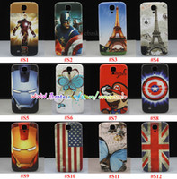 Wholesale Paris Eiffel Tower Flower butterfly Hero skin Hard Plastic Case Housing Battery Door Back Cover For Samsung Galaxy S4 SIV i9500