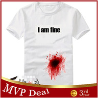 Wholesale Hot sell Been shot but I am fine funny mens womens lovers cute couple short sleeve t shirts casual D T shirt