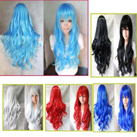 Wholesale New Cosplay Colorful Cosplay Women Girls Long Curly Full Hair Wig Wigs Color