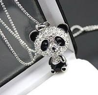 Bijoux de panda Prix-12pcs / lot, Mode Collier Panda Mignon, Collier pendentif en cristal pleine Panda, chaîne chandail Bijoux Collier animal