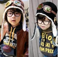 Wholesale 10pcs new design Baby Hat Black Brown Fashion Earflap Pilot Cap Baby WARM Winter Hat