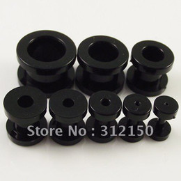 160pcs Free Shipping 8 sizes , Black Ear Expander Ear Taper Stretchers Ear Plugs UV Piercing Jewelry Flesh Tunnel