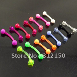 100pcs 16G soft flexible eyebrow ring 1.2x8x3mm ball eyebrow rings mixed colors body piercing jewelry