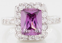 10k gold ring - Sparkling k Solid White Gold Amethyst Ring For Women Engagment Valentine Day Gift Wedding Ring
