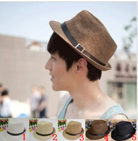 Wholesale Fashion Men and Lady Lovers Beach Hat Cap Belt Straw Hat colors mixed freeshipping