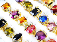 South American Unisex Party Gemstone Rings Engagement Ring 30Pcs lot Fashion CZ Crystal Rings Cubic Zirconia Ring with Gold Plated Women's Wedding Rings [CZ09*30]