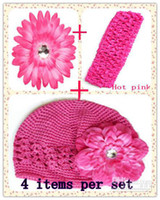 Wholesale Sell in ste quot Daisy Flower Clip Peony flower clip Kufi Beanie hat Crochet Headband U pick color
