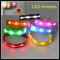 LED Armbands armlets - POP Selling LED Strip Armlets safety outdoor luminous Nylon Armband Fashion hot Selling Arm Bands Gadgets for Bar Party Night Playing