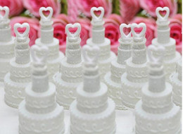 Wholesale 48pcs White cake shaped Bubble bottle soap water bottle for weddings and party no water wb803