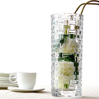 Wholesale Modern brief crystal straight bamboo vase thick glass flower