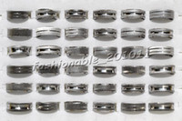 Band Rings american brushes - jewelry Mixed Design Stainless steel groove Brush Finish Silver Tone Rings Size mm R252 Brand New