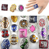 Wholesale Resale Bulk Craft Enamel Glaze Silver Tone Rings Mix Colors A04