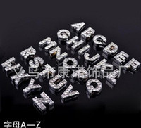 Wholesale 10MM Rhinestone Letter Beads For Bracelets Diamond Letters DIY Accessories Charms
