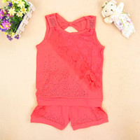 Wholesale Cheap Suit for Girls Sleeveless T Shirt and Elastic Waisted Shorts Soft Cotton Fabric Good Quality Hot Sale E14