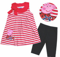 Wholesale Brand New Peppa Pig girl girls t shirt top legging leggings piece clothing suit set