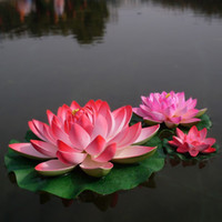 Wholesale Hot selling CM Diameter Simulation Flower Artificial Lotus floating water Home garden fish tank Decor