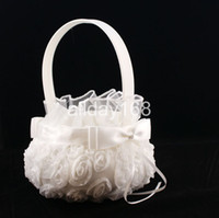 Wholesale Beatiful Satin white D roses lace Flower Girl Baskets for Wedding Favors