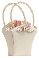 Flower Girl Baskets beatiful flowers - Beatiful Satin cute flower baskets champagne square Flower Girl Baskets for Wedding supplies for