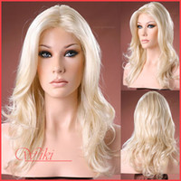 Blonde Synthetic hair Natural Wave Glueless Synthetic Lace Front Wigs, 16-24inch body wave Lace Wigs, Lightest Blonde Customized Party Wig, Cheap Wig, DHL Free Shipping