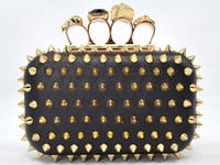 Wholesale 2013 Fashion Evening Bags Punk Skull Knuckle Ring Clutch Bags Revit Party Bag With Detachable Chain Strap Shoulder Bag Top Quality Colors