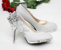 Wholesale beautiful women pumps Silver Vogue lace Flowers Crystal High Heels Wedding Bridal Shoes