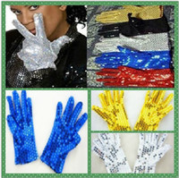 Wholesale New Adults and children of Michael Jackson sequined gloves performances gloves DS jazz hip hop gloves pair