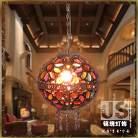 Wholesale Bohemia spherical fashion vintage rustic lantern pendant light wrought iron stair corridor lights