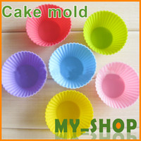 Wholesale Silicone Cake Moulds cm Colorful Muffin Cup Cake Moulds FDA SGS Non toxic Tasteless Non stick Bakeware Cupcakes JJ0910