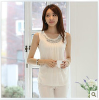 Wholesale fashion new summer women silk blouse new sleeveless straps bottoming the diamon tops