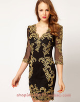 Wholesale 2013 HOT New Women s Fashion Dresses Heavy gold thread embroidery sexy deep V neck Elegant Slim Women s Work Dresses