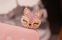 Wholesale 1PC Bling Crystal Pearl Cute Pink Fox Earphone Charm Cap Anti Dust Plug for iPhone iPhone Samsung S3 Nokia Lumia