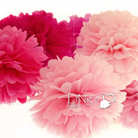 Wholesale 20 pc Tissue Paper Pom Poms Flower Balls Wedding Party Shower Decoration quot cm