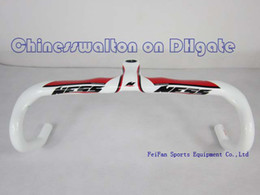 Wholesale 2013 carbon handlebar new ness Full carbon red white road integrated handlebar with stem caliber mm