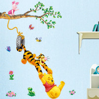 PVC bear bedroom decor - Popular Cartoon Winnie Bear and Tigger Wall Sticker Home Decor Room Decor Kids Large Mural Children s bedrooms Sticker Decals Home